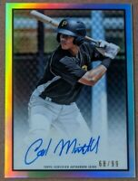 Cal Mitchell- Pirates RARE #/99 ON-CARD AUTO REFRACTOR 🔥💎 2019 Bowman Heritage