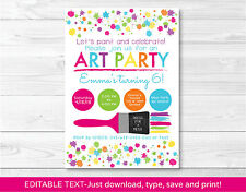 Art Birthday Party Rainbow Art Party Printable Birthday Invitation Editable PDF