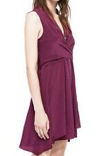 All Saints Jayda Dress In Bordeaux Red Silk. Size L