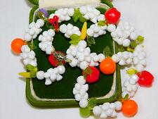 "Vintage Fruit Salad Apple Orange Cherry Plum Plastic Bead 20"" Necklace 3e 22"