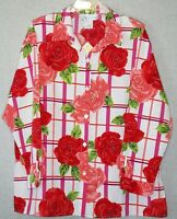Susan Graver Womens Size XL Top Button Front Floral Casual Wear To Work