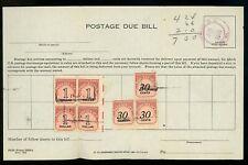 US Postal History #J98(3)+J100(4) Postage Due Bill 1967 Trenton NJ