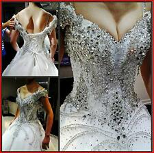 YZ New Arrival Gorgeous Luxurious Swarovski Crystals Bridal Wedding Dress