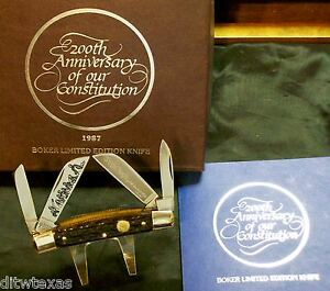 """Boker 200th Anniversary Knife """"American Constitution"""" #2589 W/Original Packaging"""