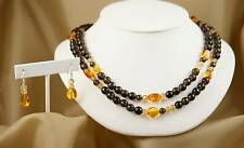 Smokey Quartz, Amber, Citrine Long Necklace & Earrings