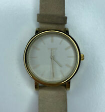 E Timex 34 CR Ladies Gold Beige Suede WR30M Stainless Working