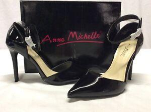 Anne Michelle Rise Point Toe Pump Shoes, Black,Bridal Size 8.5 M Eur 38.5