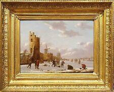Huge Fine 17th 18th Century Dutch Old Master Frozen Winter Ice Skating Landscape