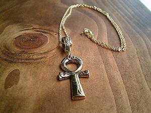 "Egyptian Ankh Cross Pendant 24"" Gold Necklace Jewellery Gift UK Seller"