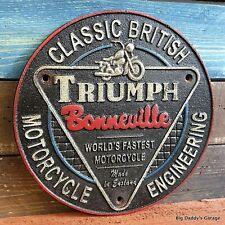 Triumph Motorcycle Bonneville Cast Iron Sign Antique Finish Man Cave Bar Garage