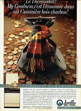 Publicité Advertising 320  1986  Deville cuisinière bois charbon  thermostat