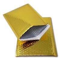 50 x SHINY METALLIC GLOSS GOLD FOIL BUBBLE PADDED ENVELOPES BAGS 180x250mm D/1