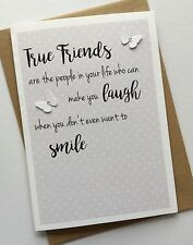 Handmade Personalised Birthday Thank You Sympathy Card: True Friends Quote