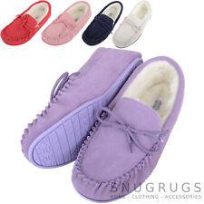 SNUGRUGS Ladies / Womens Luxury Lambswool Suede Moccasin / Slipper Rubber Sole