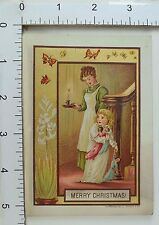 Victorian Christmas Trade Card Butterfly Border Mother Child Dolls Candle #A