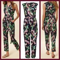 New Ex Wallis Ladies Black Floral Print Wrap Jumpsuit  Size 8 - 20