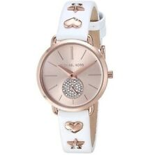 100% New Michael Kors MK2728 Portia Rose Gold Dial Leather Band Women's Watch
