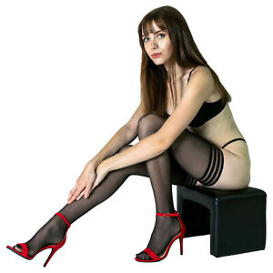Gabriella Calze Lux Shiny Thigh High Stay Up Stockings with Silicone Top Band