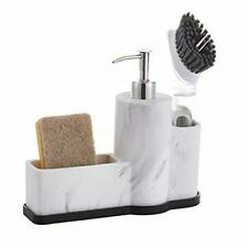 Zccz Dish Soap Dispenser Sponge Brush Holder Pump Sink Caddy Organizer Marble