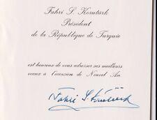 TURKEY President 1973 - 1980 Fahri Sabit Korutürk Signed Greeting Card