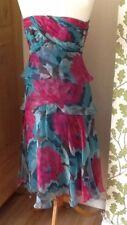 Beautiful Special Occasion Strapless Dress Aqua cerise floral Silk Monsoon 8