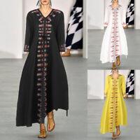 Mode Femme Belle Loose Robe de bal imprimée Manche Longue Col V Dresse Maxi Plus