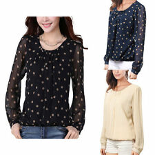 Women's Polyester Polka Dot Long Sleeve Sleeve Casual Tops & Blouses