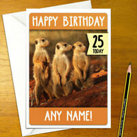 MEERKAT TRIO Personalised Birthday Card - animal personalized meerkats happy