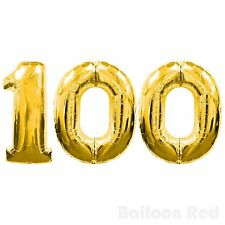 "16"" 100 Gold Number Balloons 100th Birthday Party Anniversary Foil Balloon Decor"