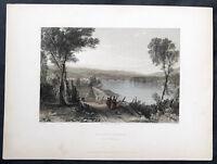 1838 Bartlett Antique Print View of Wilkes-Barre, Pennsylvania Susquehanna River