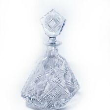 Crystal Decanter Poland 24% Lead Liquor Brandy Whiskey Flat Round Etched 800ml