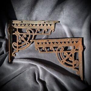 2 Cast Iron Metal Shelf Brackets Patina Ornate Vintage Retro Industrial