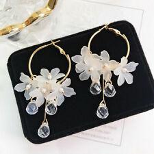 1Pair Elegant Earrings Crystal Tassel Dangle Acrylic Flower Jewelry Accessories