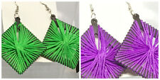 Ladies Large Green Or Purple Fashion Earrings Woven Square Clubbing Party J4