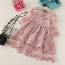 Kids Baby Girls Casual Summer Clothes Round Neck Long Sleeve Princess Lace Dress