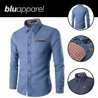 Lucas Mens Long Sleeve Denim Shirt Casual Blouse T-Shirt Tops Size S-2XL