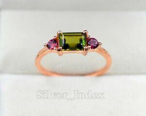 14K Rose Gold Plating Natural Green & Pink Tourmaline Gemstone Love Ring For Her