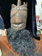 New listing Antique African 15� hand carved wood mask slit eyes with huge raffia beard