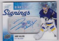 15-16 UD Ice Jake Allen Auto Rinkside Signings Blues 2015