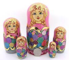 Russian HAND PAINTED nesting dolls 5 Christmas Baubles PINK Matryoshka POTAPOVA