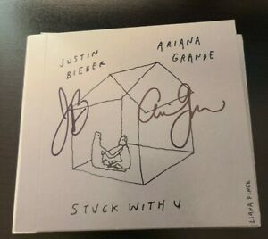 ARIANA GRANDE JUSTIN BIEBER SIGNED STUCK WITH U CD AUTOGRAPHED W/COA+PROOF WOW