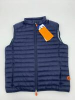 New Save the Duck mens puffer jacket vest Sz M navy Nylon Q493