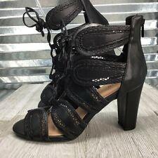 Torrid NEW Black Scallop Lace Up Cut Out Gladiator Sandel Shoe Size 11.5 W