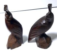 "2 Ironwood Wood Carved QUAIL Figurines Sculptures 1.5"" L 4.25"" T & 4"" T X 2"" L"