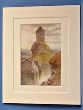 SMAILHOLM TOWER SCOTLAND SCOTT VINTAGE DOUBLE MOUNTED HASLEHUST PRINT 10X8 1920