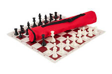Quiver Chess Set Combination - Triple Weighted - Red Bag / Board
