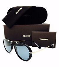 New Tom Ford Sunglasses Aaron FT 473 01V Black/Gold/Blue 53•17•145 W/Case