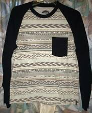 Valor Collective abstract print black contrast henley casual shirt man S Small