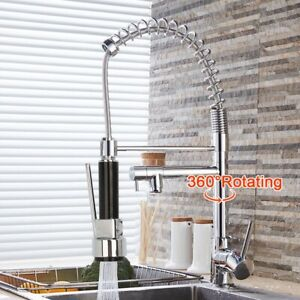 360° Swivel Pull Out Taps Spray Mixer Kitchen Sink Mixing Tap Spring Neck Chrome