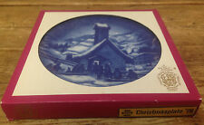 Bareuther Bavaria 1976 Christmas Plate Germany Blue Chapel in the Hills Boxed